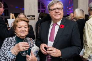 Volunteer Ellen Bourke with Atwater Library President John Aylen.